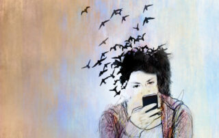 Drawing of girl with phone